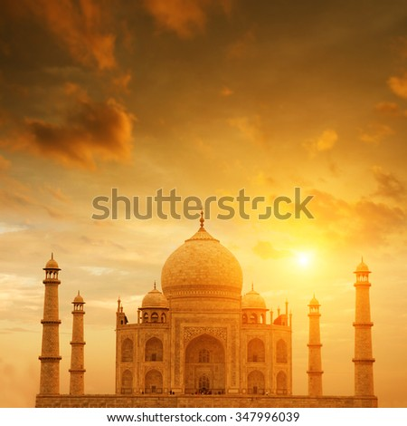 Front view Taj Mahal in Agra, India on sunset. - stock photo