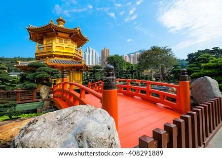 Front View The Golden Pavilion Temple in Nan Lian Garden - stock photo