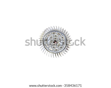 front view to LED light bulb isolated on white background  - stock photo
