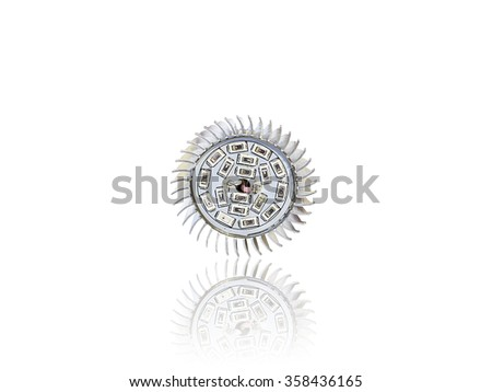front view to LED light bulb isolated on white background with reflection - stock photo