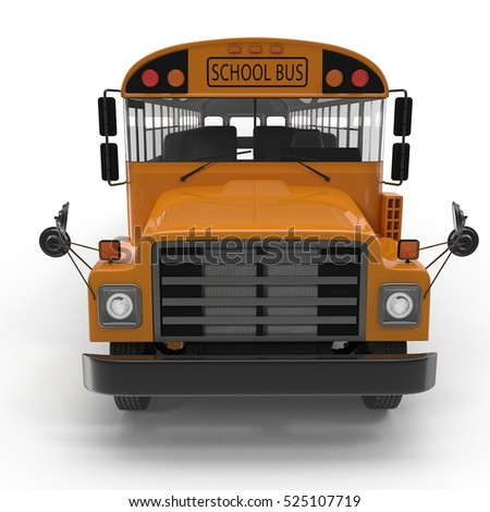 Front view Traditional yellow schoolbus isolated on white. 3D illustration