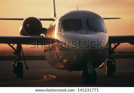 Front view Westwind jet on tarmac - stock photo