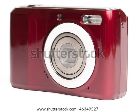 front view with retracted zoom, isolated on white - stock photo