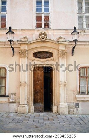 Front wall of old tenement house.  - stock photo