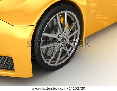 Front wheel of a bright yellow car - stock photo