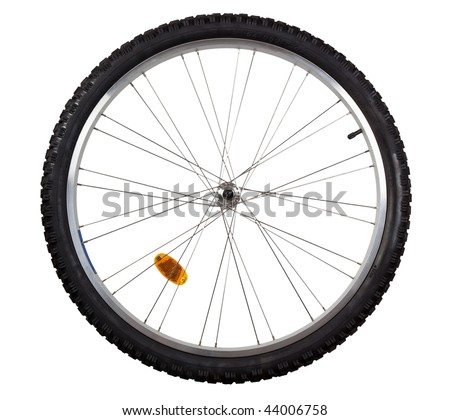 Front wheel of a mountain bike isolated on white background - stock photo
