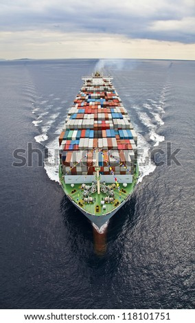 Frontal aerial view of a Cargo vessel. - stock photo