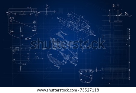 frontal architectural blueprint - stock photo