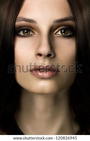 frontal close-up portrait of young ethnic woman - stock photo