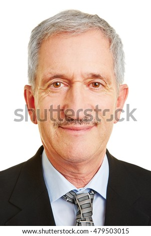 Frontal face of old smiling businessman for business head shot