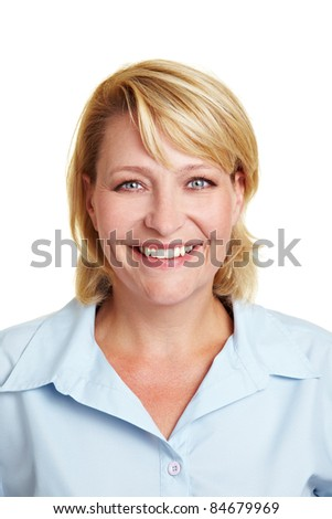 Frontal head shot of a happy business woman