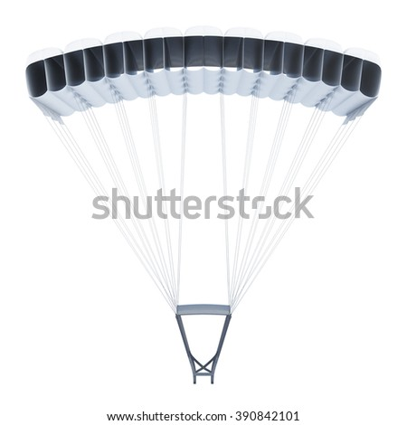 Frontal image of a parachute on white background. 3d rendering. - stock photo