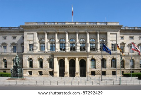 "frontal shot of a building named ""Preußischer Landtag"" in Berlin (Germany) in sunny ambiance at summer time"