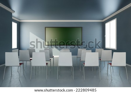 Frontal view in training room with chalkboard