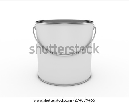 Frontal view of a closed bucket of paint isolated on white background