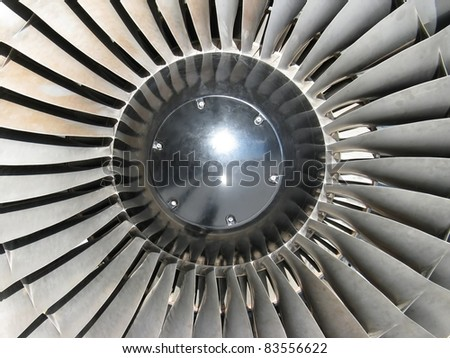 frontal view of a jet engine - stock photo