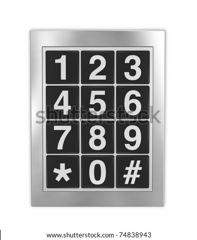 frontal view of a keypad as that used on doors, phones and safes - stock photo