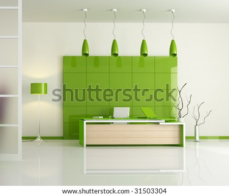 frontal view of a modern office - rendering - stock photo