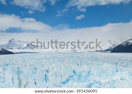 Frontal view of the Perito Moreno Glacier in Argentina
