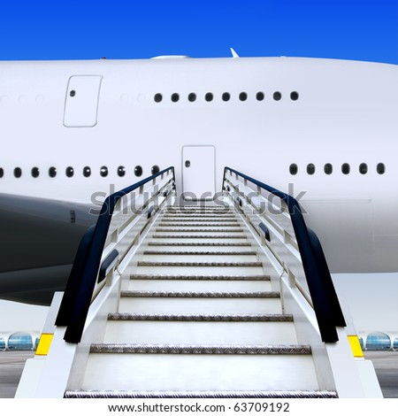 frontal view of white ramp in airport near the plane - stock photo