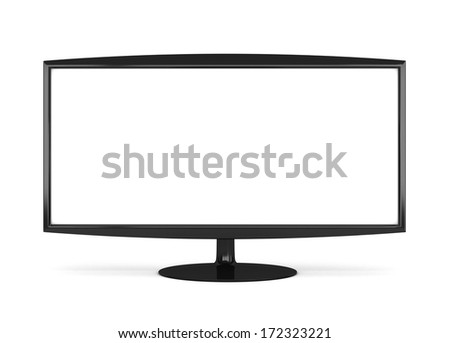 Frontal view of widescreen led or lcd internet tv monitor isolated  - stock photo