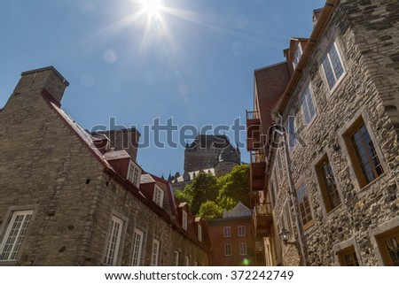 Frontenac Castle from Petit Champlain in Quebec city - stock photo