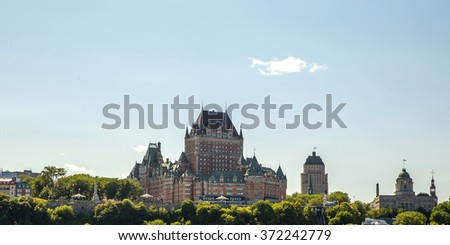 Frontenac castle in Quebec city - stock photo