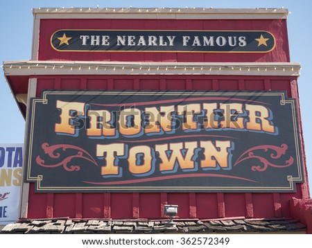 Frontier Town, Cave Creek, Arizona, USA - 14.01.2016: big sign of Frontier Town in Cave Creek, Arizona.