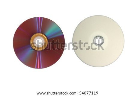 frontside and backside of a DVD - stock photo