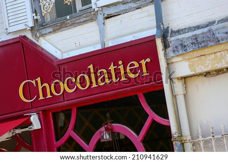 frontstore of an french chocolate shop - stock photo