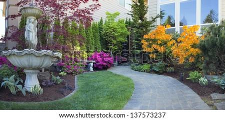 Frontyard Landscaping Water Fountain Brick Pavers Stock Photo