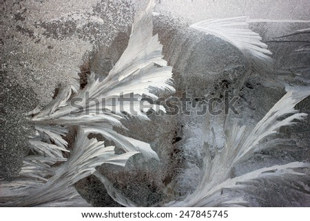 frost on the window background - stock photo