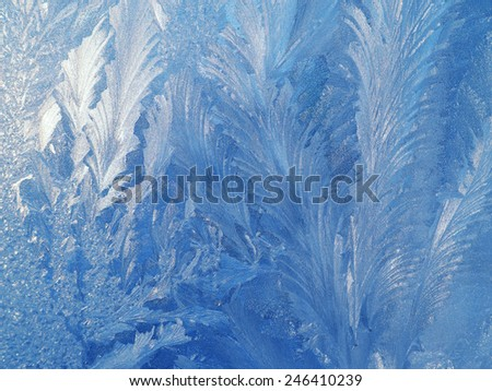 frost patterns on glass - stock photo
