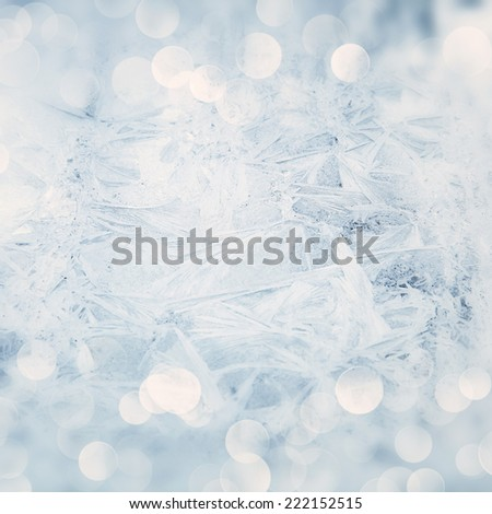 Frost patterns on window. Vintage retro style - stock photo