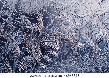 frost with strong blue light