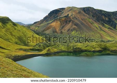 Frostastadavatn lake in Iceland highlands - stock photo