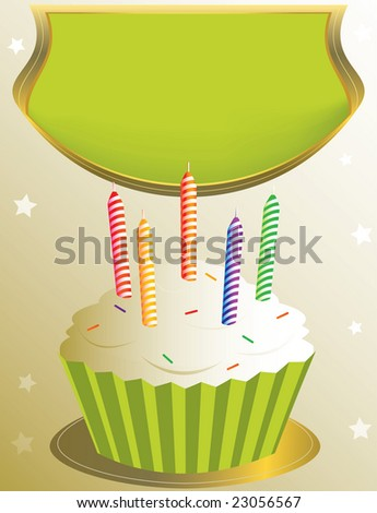 frosted birthday cupcake - jpg version - stock photo