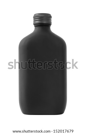 Frosted black glass bottle isolated on white background - stock photo