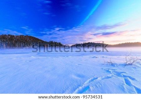 frosted horizon - stock photo