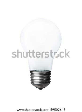 Frosted light bulb isolated on white background
