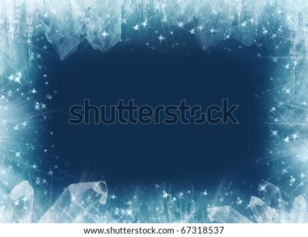 Frosted sparkly winter background and frame. - stock photo