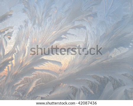 frosted window glass - winter background - stock photo