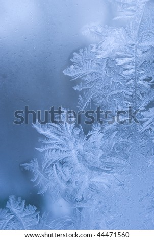 Frostwork on a window glass (as an abstract winter background) - stock photo