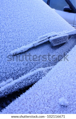Frosty car - stock photo