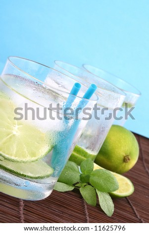 Frosty cold glass of ice water with lime