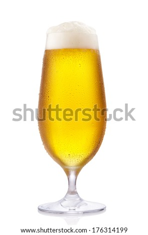 Frosty glass of beer isolated on a white background
