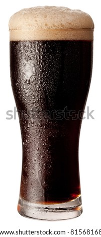 Frosty glass of black beer isolated on a white background. File contains a path to cut. - stock photo