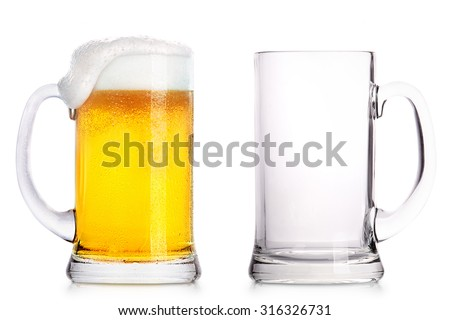 Frosty glass of light beer and empty glass isolated on a white background - stock photo