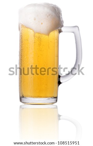 Frosty glass of light beer with foam isolated on a white background - stock photo