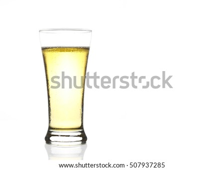 frosty lager light beer in clear glass with steam for winter drink or celebration isolated on white background and reflection with space